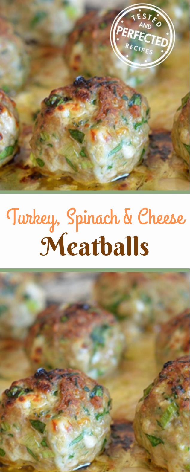 Turkey, Spinach & Cheese Meatballs #sidedish #dinner