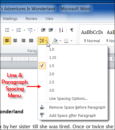 Image result for word spacing 1.5