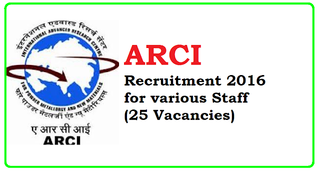 ARCI Recruitment 2016 various Staff (25 Vacancies) /2016/07/arci-recruitment-2016-various-staff-25-vacancies.html