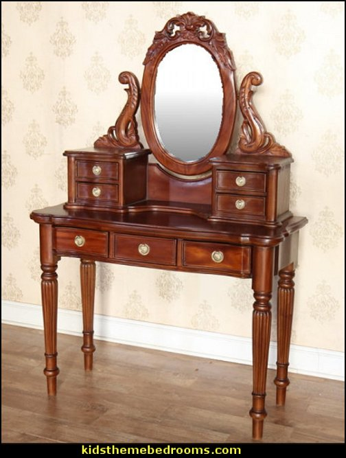 Victorian Dressing Table  Victorian Decorating ideas - Victorian bedroom ideas - Vintage decorating - Victorian Boudoir - Romantic Victorian Bedroom Decor - lace and ruffles bedding - floral bedding - Vintage decor - vintage themed bedroom for a girl - modern victorian bedroom ideas - Victorian bedroom furniture - victorian home decor -