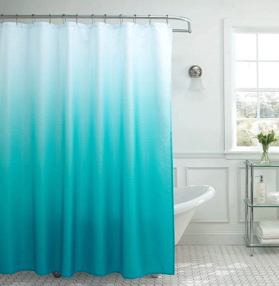 Blue Dip Dye Shower Curtain