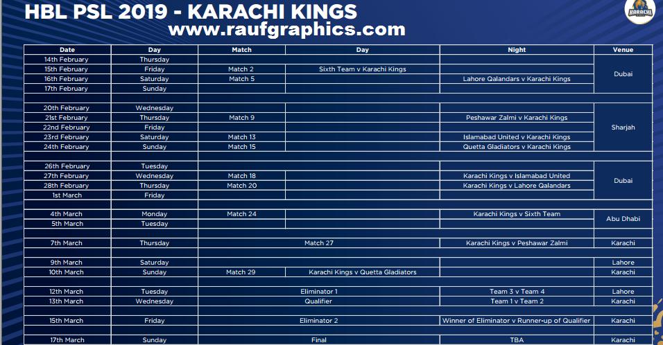 Karachi Kings Hbl Psl 2019 psl 4 schedule squad