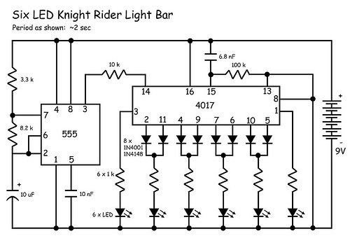circuits: knight rider leds schematic