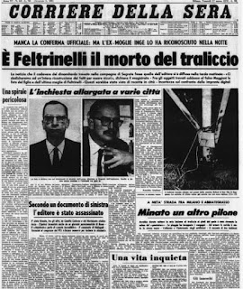 The newspaper front page announcing the death of Giangiacomo Feltrinelli