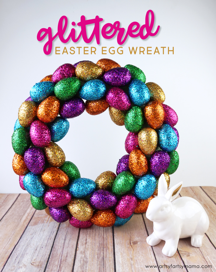 artsy-fartsy mama: DIY Glittered Easter Egg Wreath