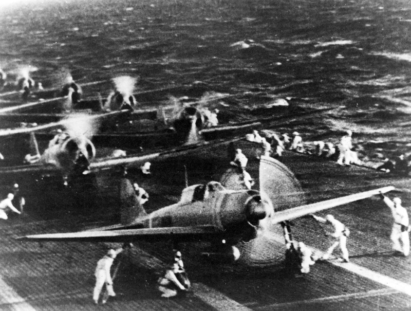 Japanese naval aircraft prepare to take off from an aircraft carrier to attack Pearl Harbor during the morning of 7 December 1941