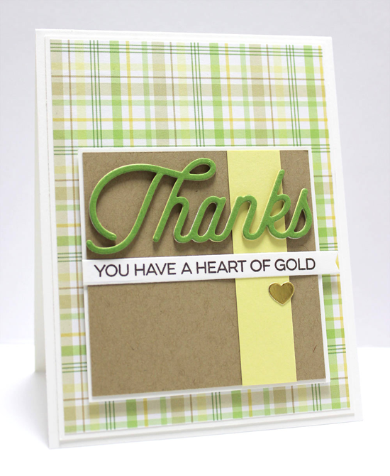 Heart of Gold Card by Jody Morrow featuring the Kind Thanks stamp set and the Twice the Thanks, Blueprints 8, and Blueprints 27 Die-namics #mftstamps