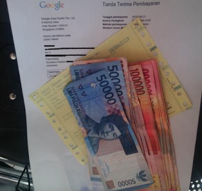 Uang dari gaji pertama google adsense