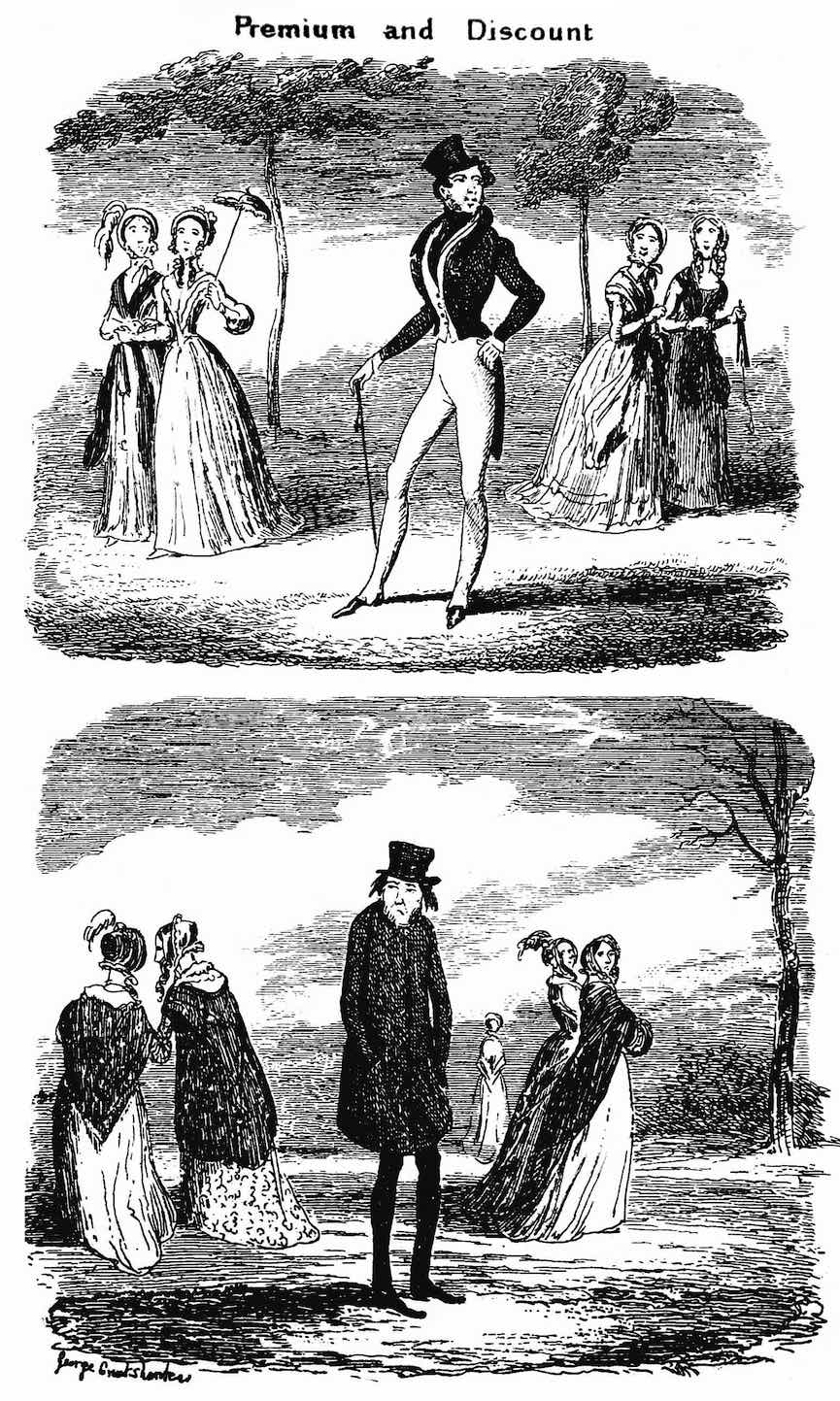 "a George Cruikshank cartoon 1842, ""Premium and Discount"", 1800s bachelor"