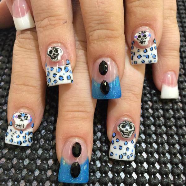 French Tip Sugar Skull Nails
