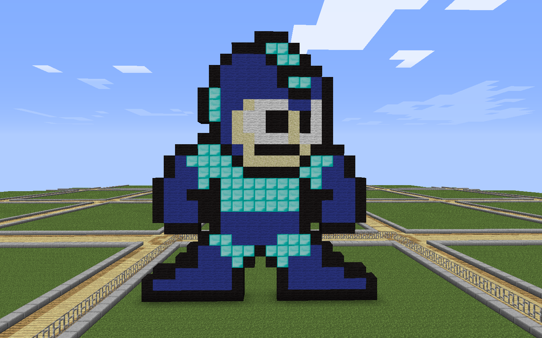Creative pixel art Megaman building ideas | Minecraft ...