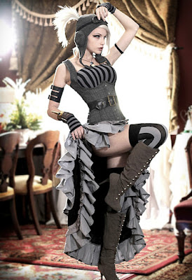 The high low skirt, mullet dress, hi low or dip hem dress is popular in women's steampunk fashion, based on victorian era overskirts