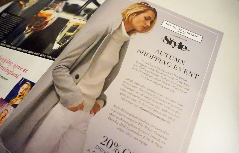 Evening With The White Company Style Birmingham Magazine Advert