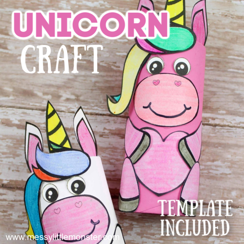 Cardboard tube unicorn craft for preschoolers (with template)