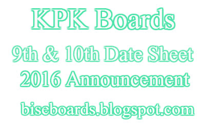 BISE Abbottabad Board 10th Class Date Sheet 2016