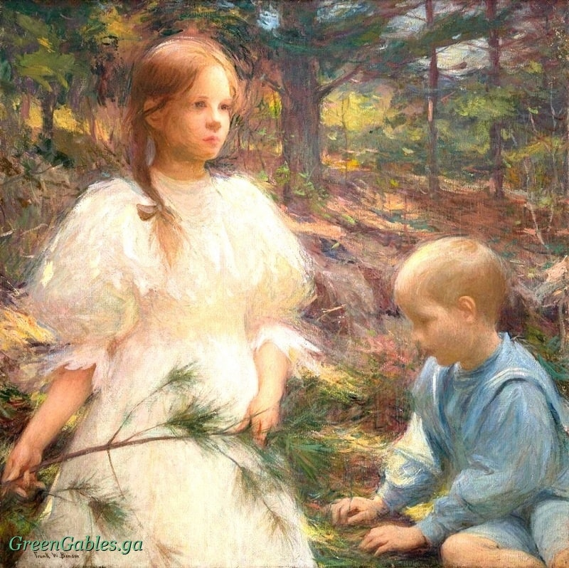 Little girl and boy in woods