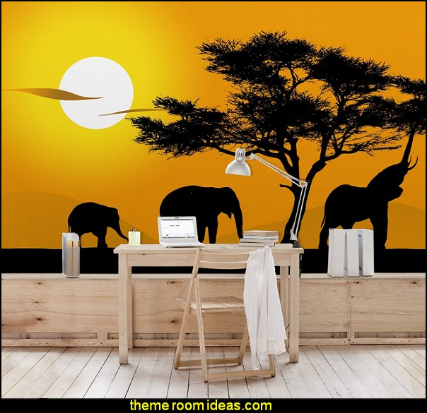 African Elephant Walk - Mural Wide wallpaper wall mural