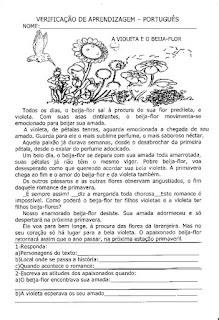 Avaliação de português - 3º ano