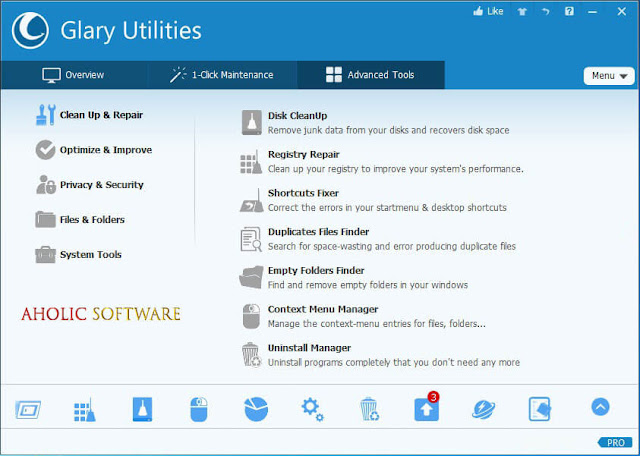 Glary Utilities Pro is a powerful system tools and utilities that fix, speed up, maintain and protect your PC.