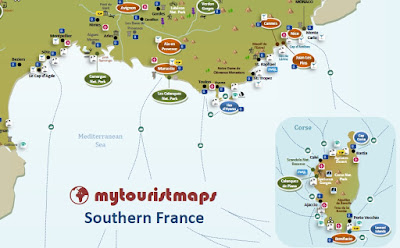 interactive tourist travel tourism map SOUTHERN FRANCE