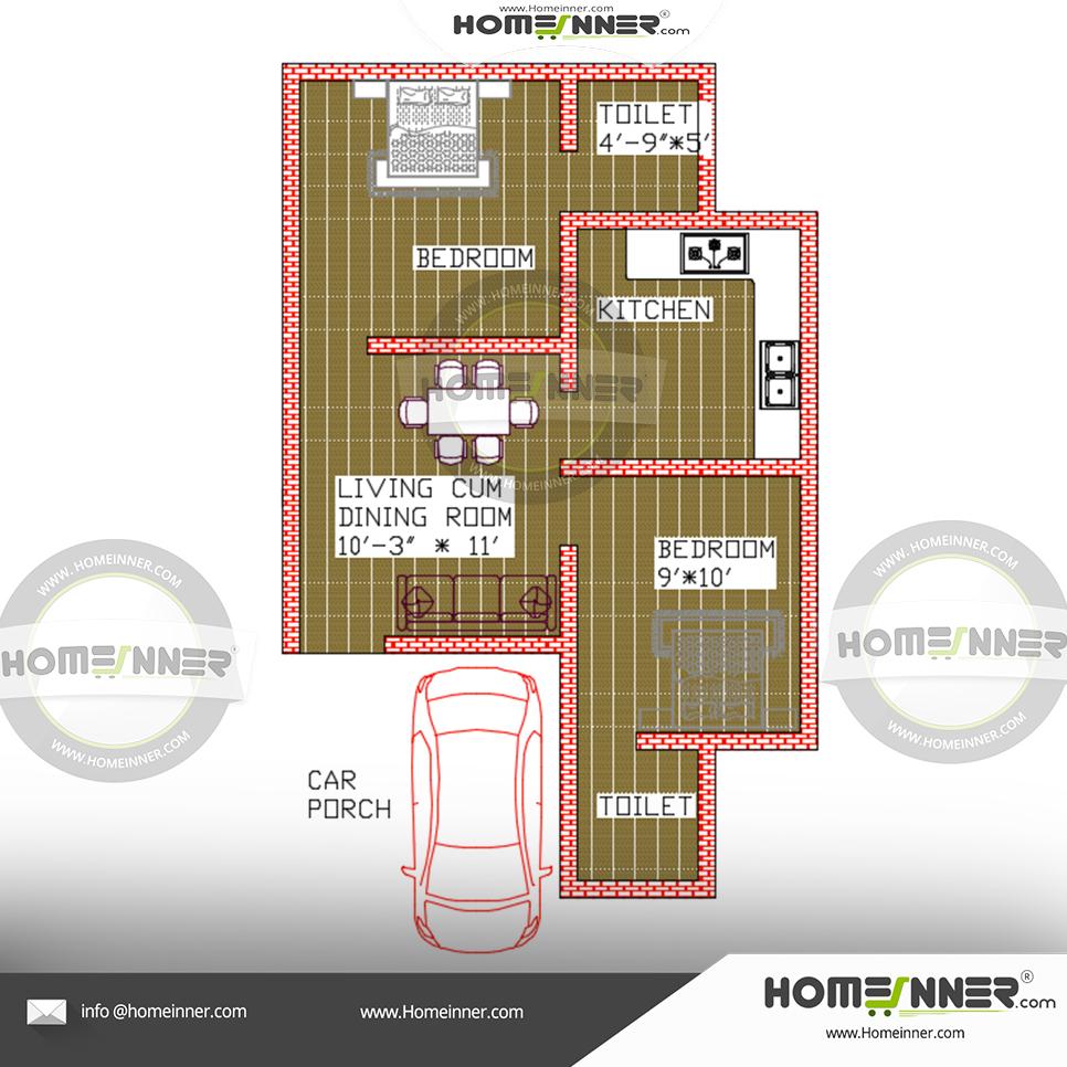 Free Low Budget 490 Sqft 2BHK house plan