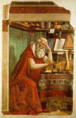 Obra de arte representando São Jerônimo traduzindo a Bíblia Sagrada