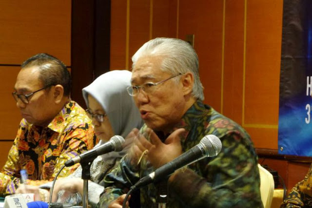 Menteri Perdagangan Enggartiasto Lukita saat menyampaikan hasil rapat kerja Kementerian Perdagangan 2018 di Hotel Borobudur, Jakarta Pusat