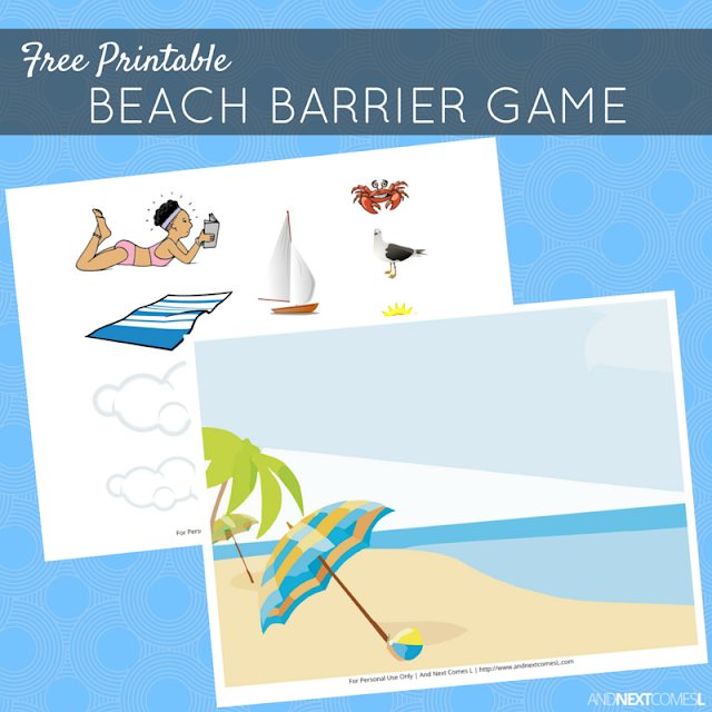 Free printable beach themed barrier game for speech therapy - great for kids with autism and hyperlexia from And Next Comes L