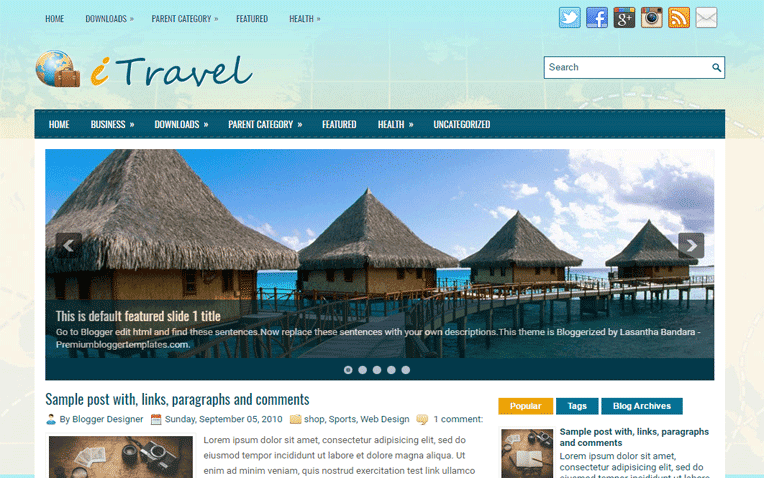 iTravel Free Blogger Template