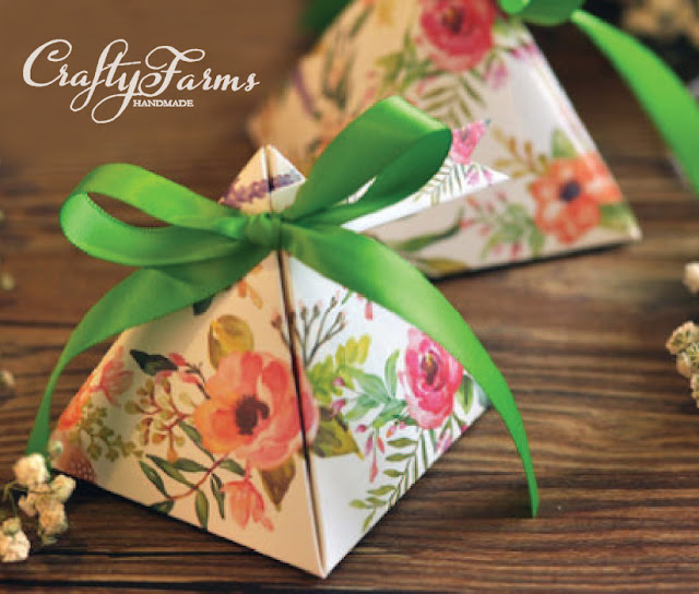 Floral Garden Themed Favour Packaging with Ribbon