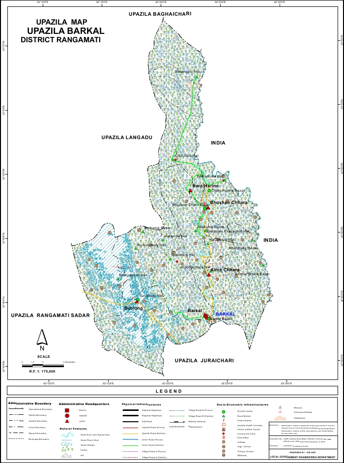 Barkal Upazila Map Rangamati District Bangladesh