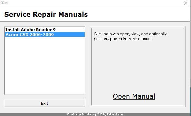 Information Acura Csx 2006 2009 Workshop Service Manual