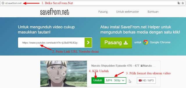 cara download youtube di savefrom.net