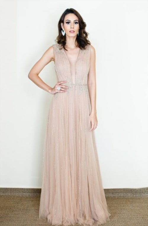vestido longo nude rose