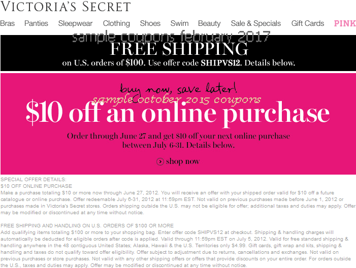Victoria secret coupon code 2018