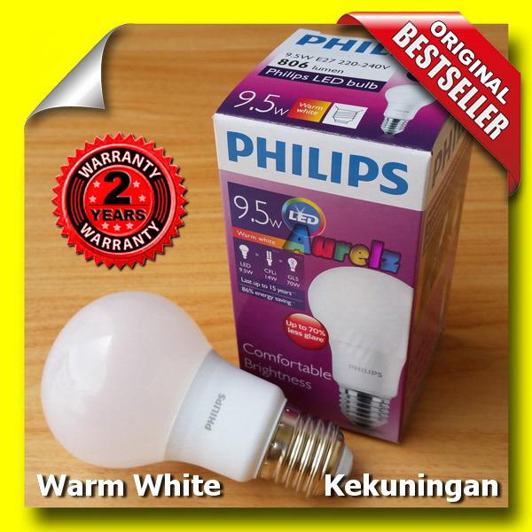 lampu led philips 9.5 watt warm white