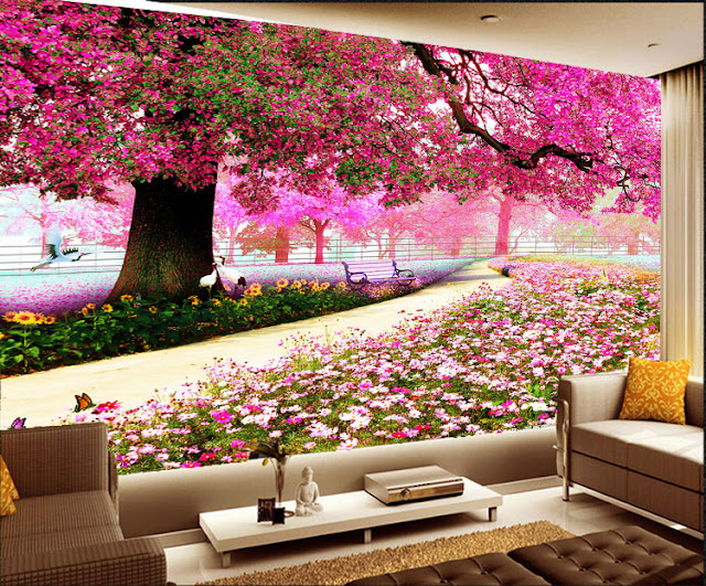 Garden wall murals 3D wallpaper living room bedroom Flower Garden pink tree plants photo wallpaper romantic