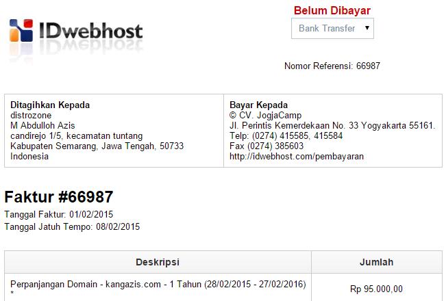 Perpanjang Domain Di IDwebhost