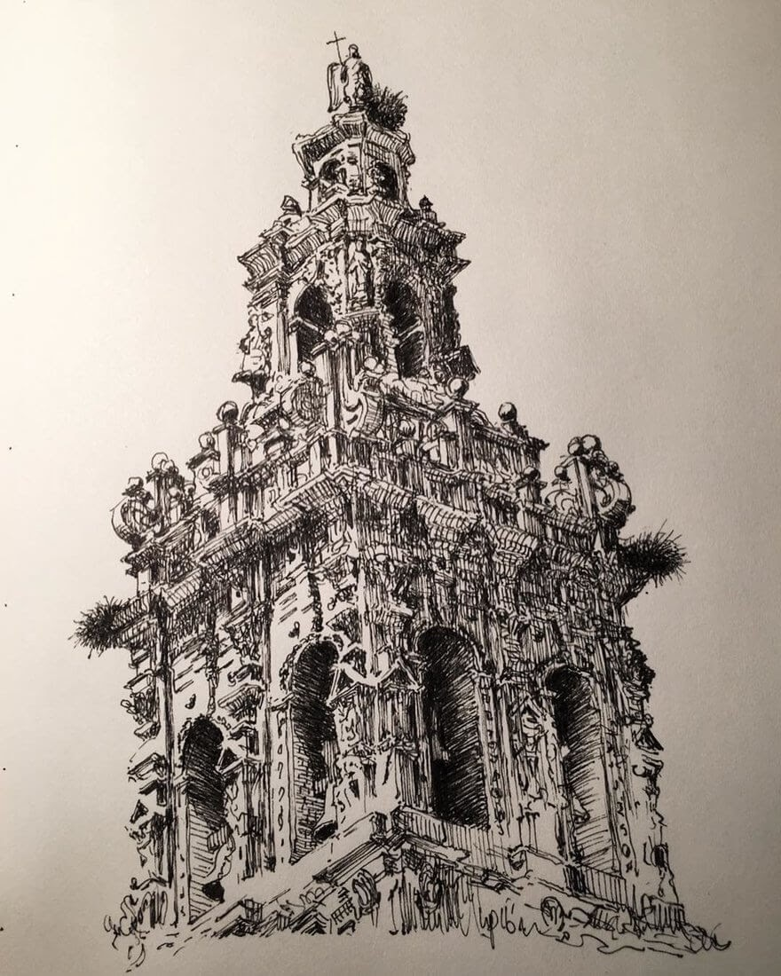 12-Bell-Tower-Mark-Poulier-Urban-Sketches-Drawn-on-Site-www-designstack-co