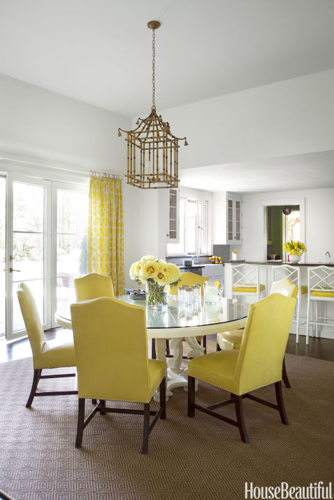 A Cheery Yellow And White Kitchen Serves As A U201cpalate Cleanser Off The Dining  Room,u201d Paterson Says. Chairs And Stools Are Covered In Piton Vinyl From ...