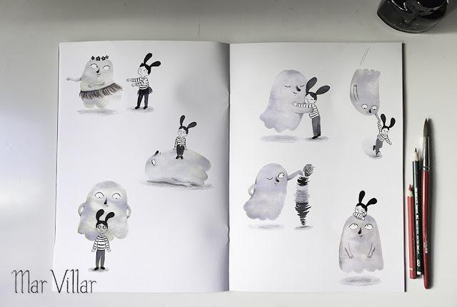 Dibujo de fantasma, ilustración de fantasma, diseño de personajes, tinta, Mar Villar, fantasma bailando,