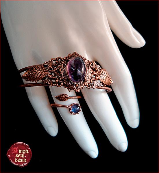 Parure bijoux cuivre violet améthyste elfique féerique nature feuilles copper amethyst purple jewelry set elven elvish fairy