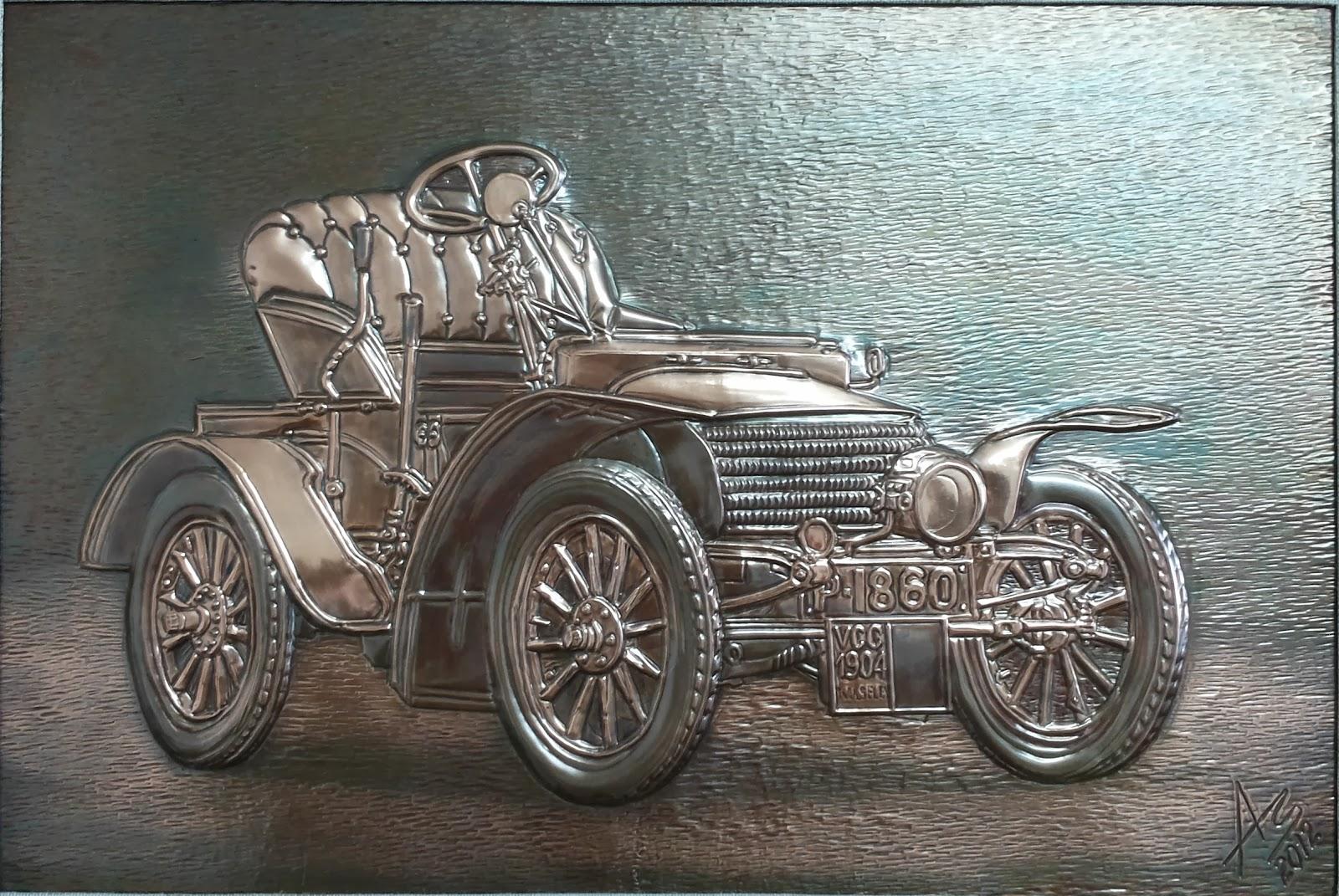 metalloplasie, metaloplastia, metaloplastie, modelarea tablei, métalloplastique, tablouri pe tabla de cupru, tablou, arta plastice, lucru manual, masina de epoca wolseley,