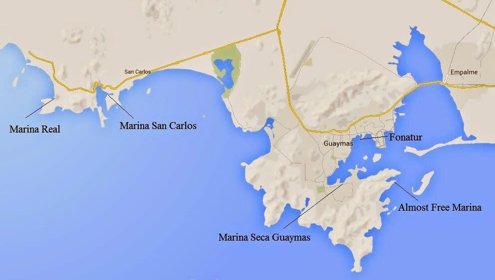 San Carlos Sonora Mexico Map.Traveler At Sea The Town Of Guaymas Sonora And Marina Seca