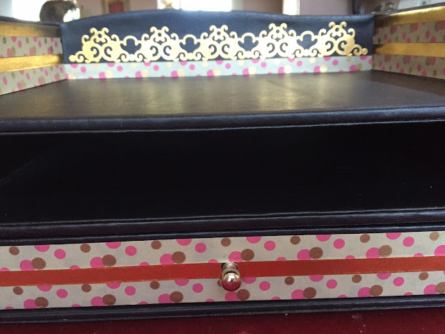 Desk tray after transforming it with Washi tape.