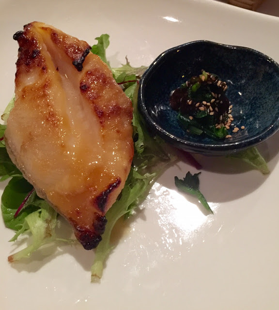 grilled black cod with miso and wilted spinach