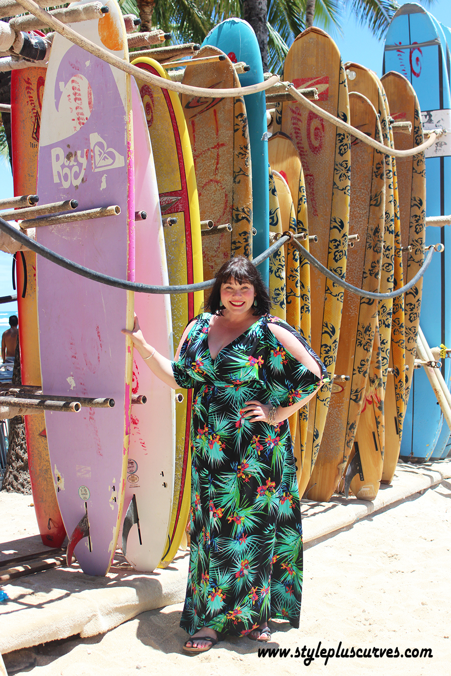309ad28c0cdc5 ... beach and shopping in Honolulu in this fabulous dress. And did I  mention it packs like a dream  plus size vacation dress in tropical print  from Kiyonna