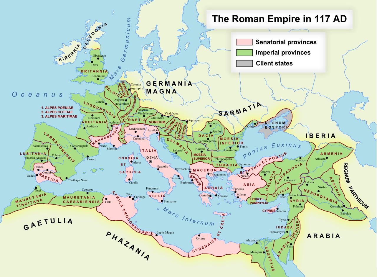 Römisches Reich Karte.Landkartenblog Karte Des Römischen Reichs 117 N Chr