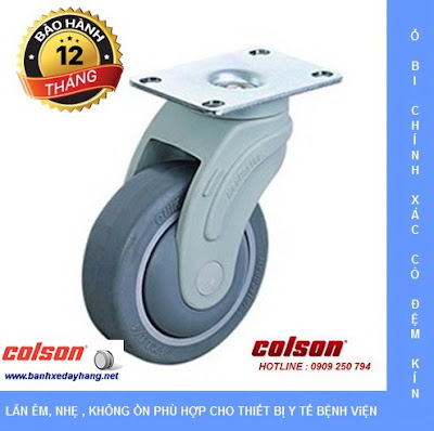 Bánh xe cao su càng nhựa mặt đế Colson chịu lực 70 ~ 100kg www.banhxeday.xyz