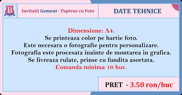 invitatii botez cu foto gemeni papirus